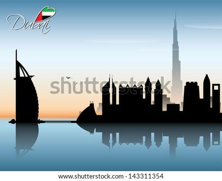 Dubai skyline - vector illustration - stock vector