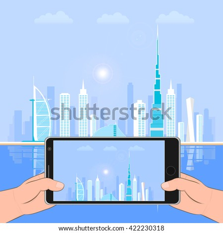 Dubai - the largest city in the United Arab Emirates, the administrative center of Dubai.  Urban landscape and Dubai hotels. photo on the smartphone. - stock vector