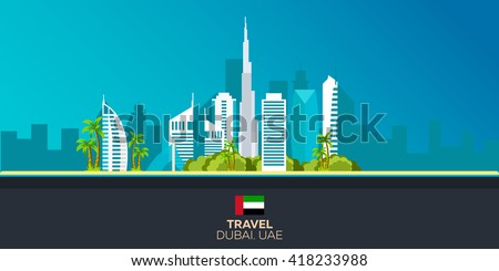 Dubai. Tourism. Traveling illustration Dubai city. Modern flat design. Dubai skyline. UAE. United Arab Emirates