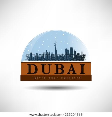 Dubai, U.A.E., city skyline silhouette in snow globe vector illustration. Winter design. - stock vector