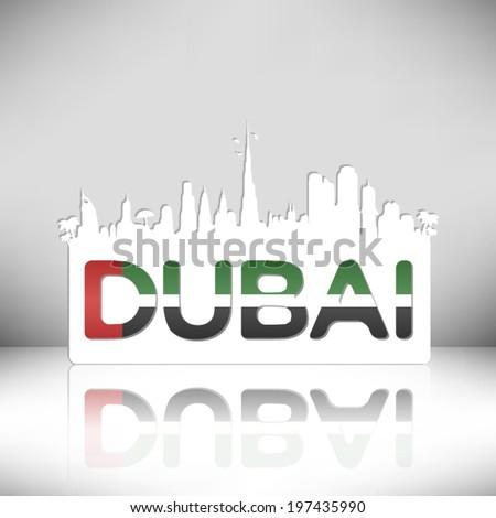 Dubai U.A.E. vector design on white background. - stock vector