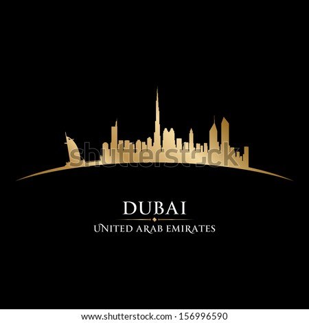 Dubai UAE city skyline silhouette. Vector illustration - stock vector