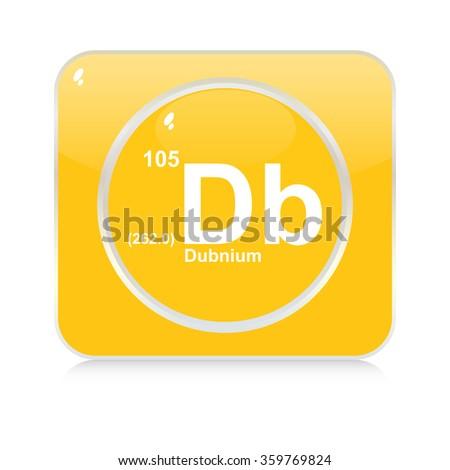 dubnium chemical element button - stock vector
