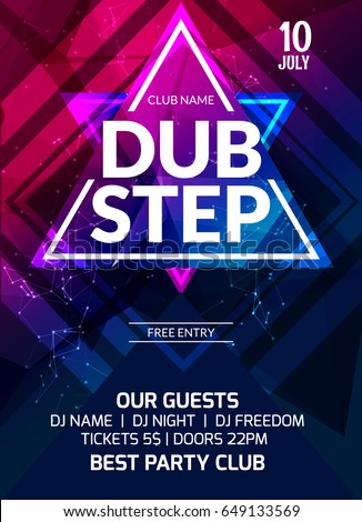 Dubstep Party Flyer Poster Futuristic Club Stock Vector
