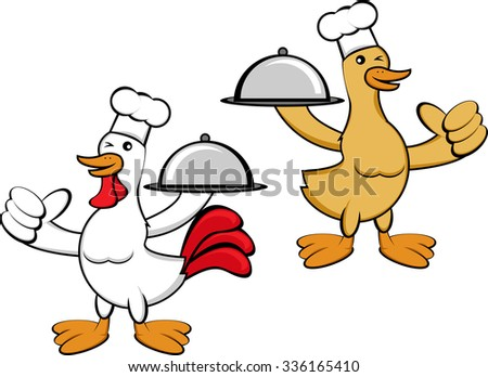 Duck and Chicken Chef - stock vector