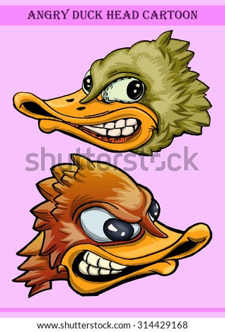 duck head cartoon illustration in angry expression - stock vector