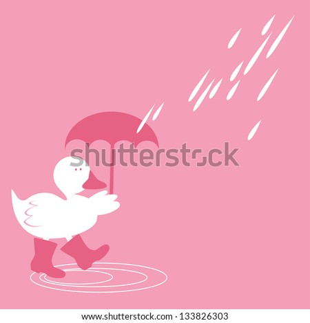 Duck in Spring Showers Cute Duck in honeysuckle pink color splashing about in puddles in Spring rain.
