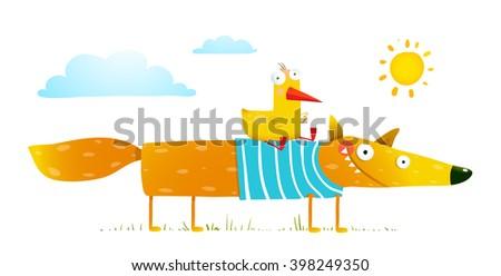 Duck sitting on fox friends. Bird and wild fox friendship. Animal character, creature mammal in nature, vector illustration - stock vector