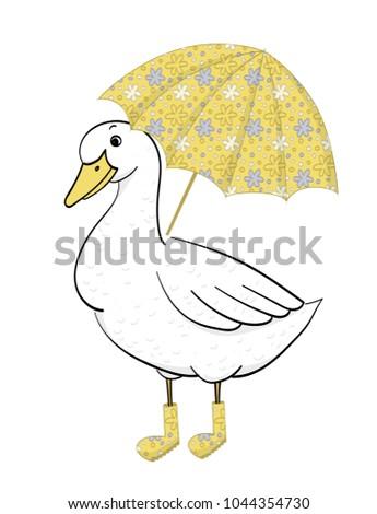 Duck Umbrella Hand Drawn Goose Vector Vectores En Stock 1044354730 ...