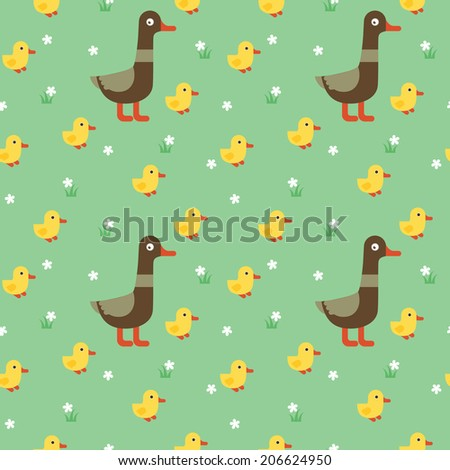 Duck with yellow ducklings and flowers on the grass. Seamless pattern. - stock vector