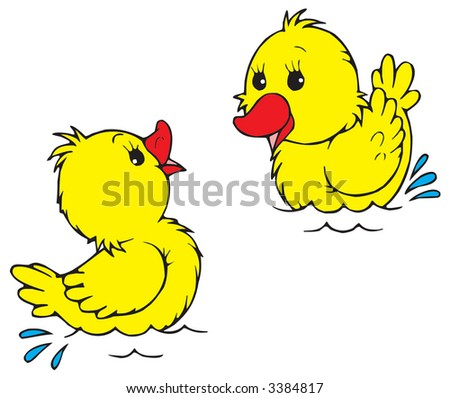 Ducklings - stock vector