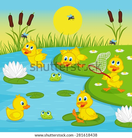 ducklings playing in lake - vector illustration, eps - stock vector