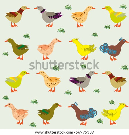 Ducks on the meadow. Pattern for children - stock vector