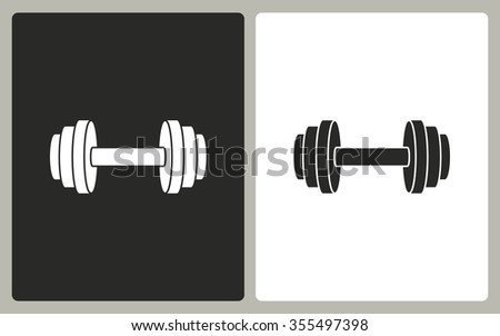 Dumbbell -  black and white icons. Vector illustration