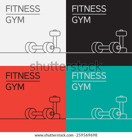 Dumbbell vector icon and background in eps - stock vector