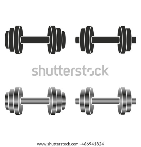 Fitness Icons Set Barbells Monochrome Style Stock Vector ...