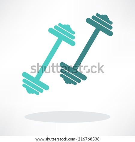 dumbbell weights symbol - stock vector