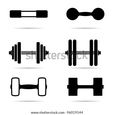 Dumbbells icons silhouette - stock vector