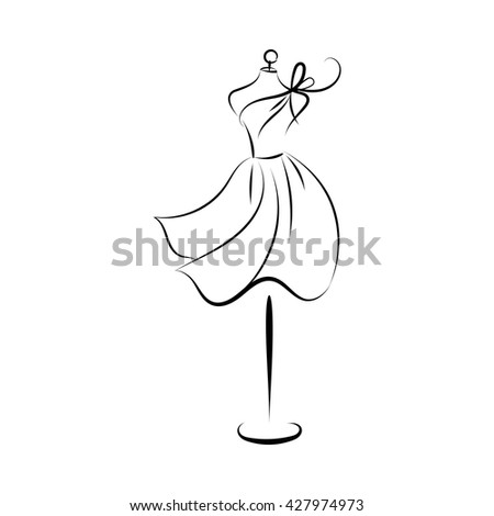 dummy dress silhouette hand drawing illustration vector