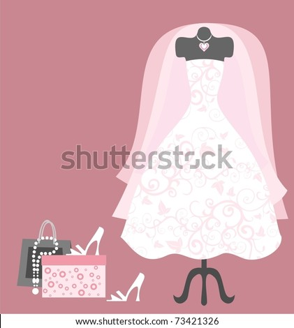 Dummy with wedding dress and accessories - stock vector