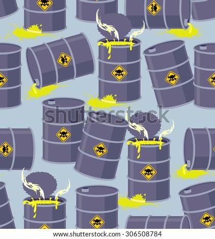 Dump toxic waste barrels. Seamless pattern dump hazardous chemical wastes. Vector illustration bio hazard - stock vector