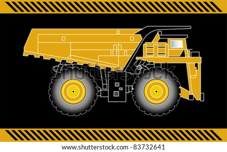 Dump truck construction machinery equipment isolated - stock vector