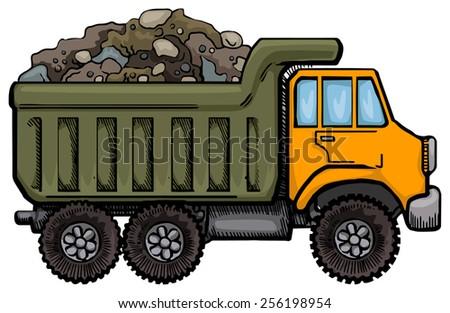 Dump Truck, full of rocks and ruble, vector illustration - stock vector