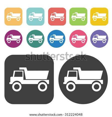 Dump Truck icons set. Vector Illustration eps10.  - stock vector