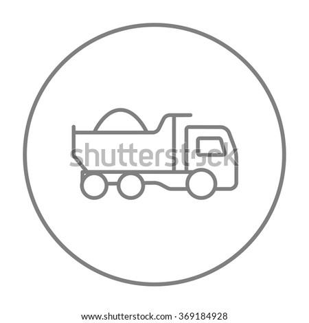 Dump truck line icon. - stock vector