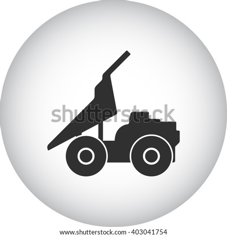 Dump truck sign simple icon on  background - stock vector