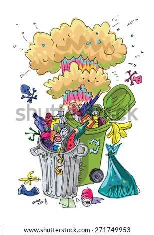 Dumpster with mushroom cloud - symbol of environmental pollution - caricature cartoon