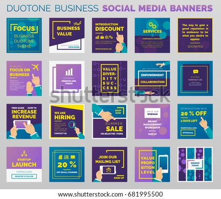 Duotone Styled Social Media Business Banners Stock Vector - Social media post template