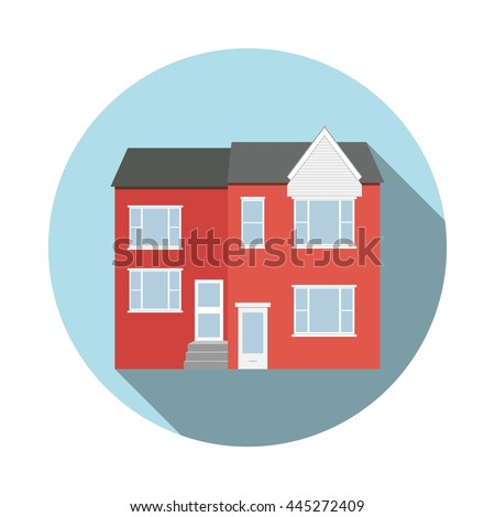 Duplex House Flat Icon Long Shadow Stock Vector 445272409 - Shutterstock