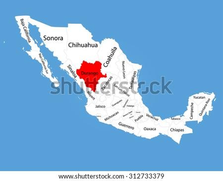 durango mexico vector map silhouette isolated stock vector