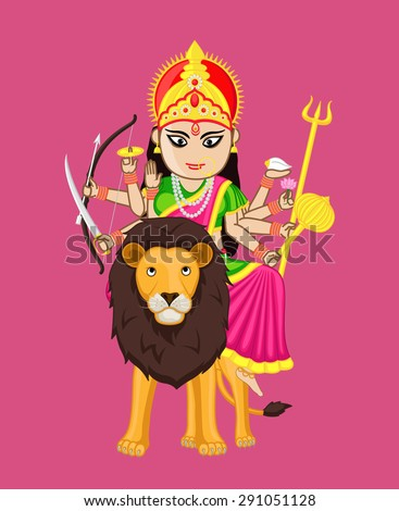 Durga Mata Vector - stock vector