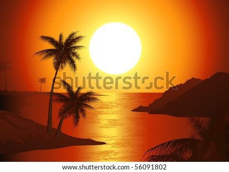 Dusk on the beach, vector illustration - stock vector