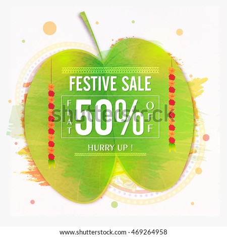 Dussehra Festive Sale with Flat 50% Off, Typographic background with Sona Patta (Golden Leaf), Creative Sale and Discount Poster, Banner or Flyer design.