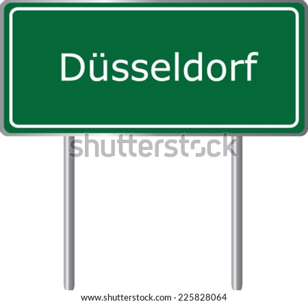 Dusseldorf, Germany, road sign green vector illustration, road table - stock vector