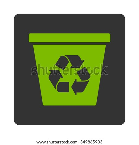 Dustbin vector icon. Style is flat rounded square button, eco green and gray colors, white background.