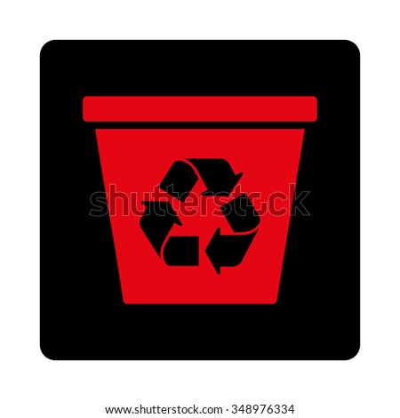 Dustbin vector icon. Style is flat rounded square button, intensive red and black colors, white background.