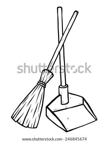 dustpan and broom / cartoon vector and illustration, black and white, hand drawn, sketch style, isolated on white background. - stock vector