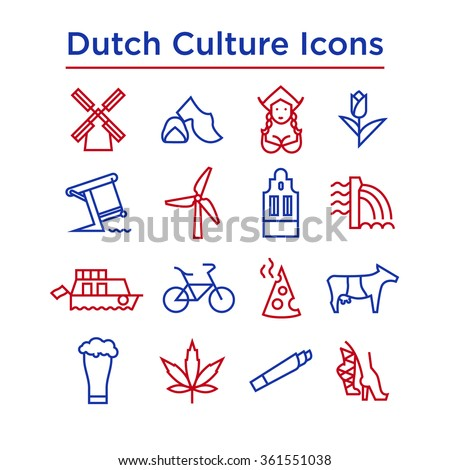 Dutch Culture Icons, Culture Signs of Holland, Traditions of Netherlands, Dutch Life, National Objects of Holland, Colored Line Icons, Colored Stroke Icons, Dutch Culture Line Color Icons - stock vector