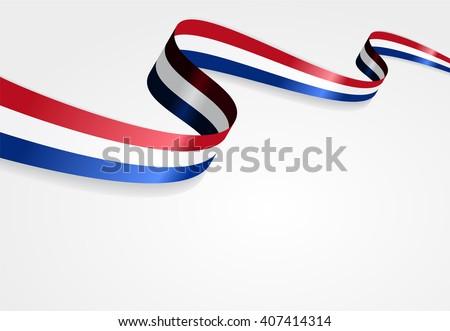 Dutch flag wavy abstract background. Vector illustration. - stock vector