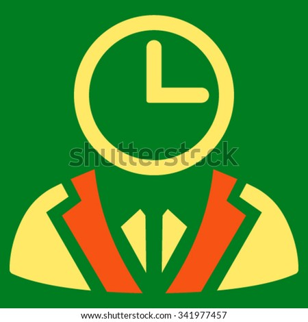 Duty Person vector icon. Style is bicolor flat symbol, orange and yellow colors, rounded angles, green background.