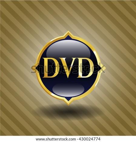 DVD gold badge - stock vector