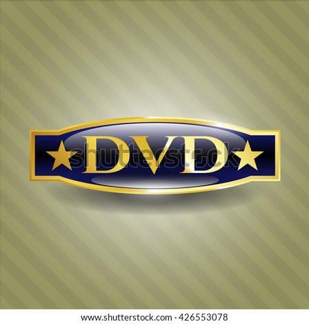 DVD golden emblem - stock vector