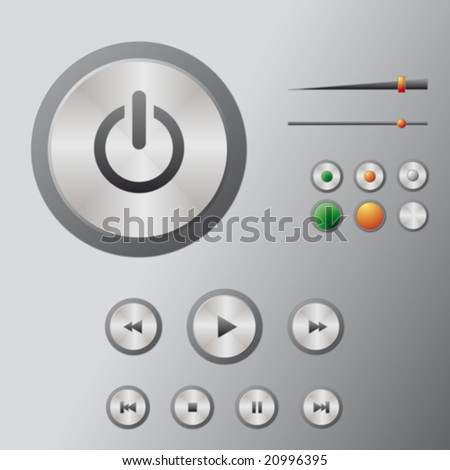 DVD player, multimedia player, Blue-ray, icons: play, stop, next, previous, forward, rewind, play, power, sliders (brushed metal) - stock vector