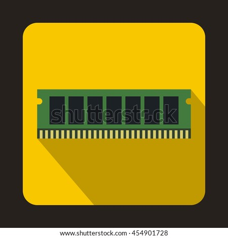 DVD RAM module for the personal computer icon in flat style on a yellow background - stock vector