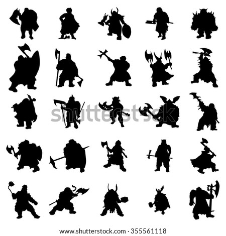 Dwarf silhouettes set isolated on white background - stock vector
