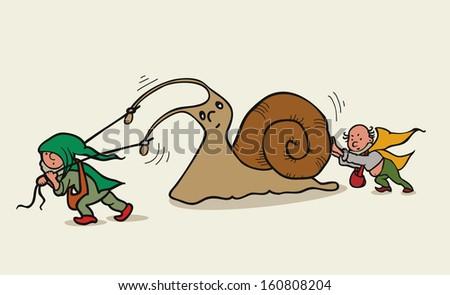 dwarfs and snail. vector illustration of children's books  - stock vector